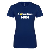 Next Level Ladies SoftStyle Junior Fitted Navy Tee-Mom