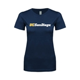 Next Level Ladies SoftStyle Junior Fitted Navy Tee-UC San Diego