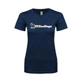 Next Level Ladies SoftStyle Junior Fitted Navy Tee-Official Logo w/UC San Diego