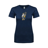 Next Level Ladies SoftStyle Junior Fitted Navy Tee-Youth Triton Logo