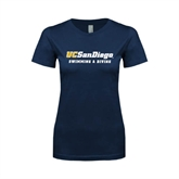 Next Level Ladies SoftStyle Junior Fitted Navy Tee-Swimming & Diving