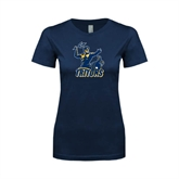 Next Level Ladies SoftStyle Junior Fitted Navy Tee-Official Logo Distressed