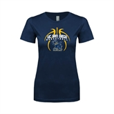 Next Level Ladies SoftStyle Junior Fitted Navy Tee-Graphics in Ball