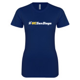Next Level Ladies SoftStyle Junior Fitted Navy Tee-UC San Diego Primary Mark