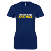 Next Level Ladies SoftStyle Junior Fitted Navy Tee-UC San Diego Tritons Mark