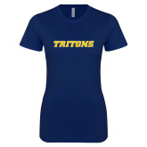 Next Level Ladies SoftStyle Junior Fitted Navy Tee-Tritons Wordmark