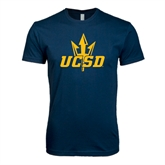 Next Level SoftStyle Navy T Shirt-UCSD w/Trident
