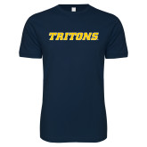 Next Level SoftStyle Navy T Shirt-Tritons Wordmark