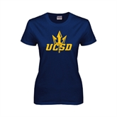 Ladies Navy T Shirt-UCSD w/Trident