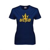 Ladies Navy T Shirt-UCSD w/Trident