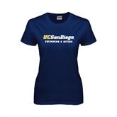 Ladies Navy T Shirt-Swimming & Diving