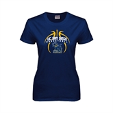 Ladies Navy T Shirt-Graphics in Ball