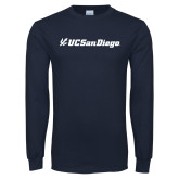 Navy Long Sleeve T Shirt-UC San Diego Primary Mark