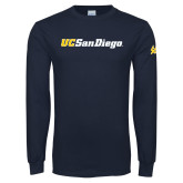 Navy Long Sleeve T Shirt-UC San Diego Wordmark