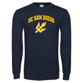Navy Long Sleeve T Shirt-UC San Diego Arched Over Trident