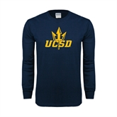 Navy Long Sleeve T Shirt-UCSD w/Trident