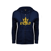 ENZA Ladies Navy Fleece Full Zip Hoodie-UCSD w/Trident