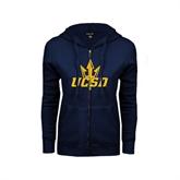 ENZA Ladies Navy Fleece Full Zip Hoodie-UCSD w/Trident