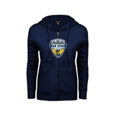 ENZA Ladies Navy Fleece Full Zip Hoodie-UC San Diego Crest