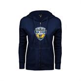 ENZA Ladies Navy Fleece Full Zip Hoodie-UC San Diego Crest