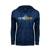 ENZA Ladies Navy Fleece Full Zip Hoodie-Tritons Rising