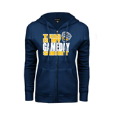 ENZA Ladies Navy Fleece Full Zip Hoodie-UC San Diego Game Day