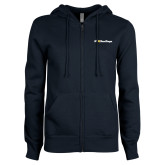 ENZA Ladies Navy Fleece Full Zip Hoodie-UC San Diego Primary Mark