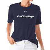 Ladies Under Armour Heather Navy Triblend Tee-UC San Diego Primary Mark