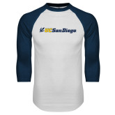 White/Navy Raglan Baseball T Shirt-UC San Diego Primary Mark
