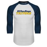 White/Navy Raglan Baseball T Shirt-UC San Diego Tritons Mark