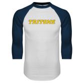 White/Navy Raglan Baseball T Shirt-Tritons Wordmark