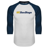 White/Navy Raglan Baseball T Shirt-UC San Diego Wordmark