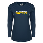 Ladies Syntrel Performance Navy Longsleeve Shirt-UC San Diego Tritons Mark