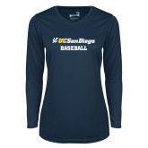 Ladies Syntrel Performance Navy Longsleeve Shirt-Baseball