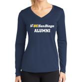 Ladies Syntrel Performance Navy Longsleeve Shirt-Alumni