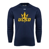 Under Armour Navy Long Sleeve Tech Tee-UCSD w/Trident