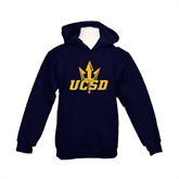 Youth Navy Fleece Hoodie-UCSD w/Trident