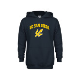 Youth Navy Fleece Hoodie-UC San Diego Arched Over Trident