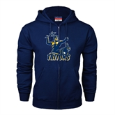 Navy Fleece Full Zip Hoodie-Official Logo Distressed