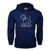 Navy Fleece Full Zip Hood-Official Logo Distressed