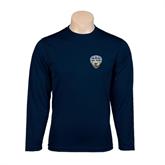 Performance Navy Longsleeve Shirt-UC San Diego Crest