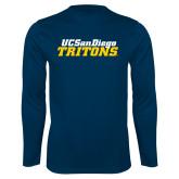 Performance Navy Longsleeve Shirt-UC San Diego Tritons Mark