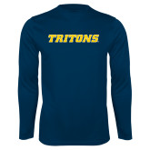Performance Navy Longsleeve Shirt-Tritons Wordmark