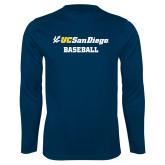 Performance Navy Longsleeve Shirt-Baseball