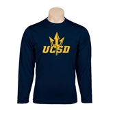 Performance Navy Longsleeve Shirt-UCSD w/Trident