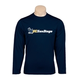 Performance Navy Longsleeve Shirt-Official Logo w/UC San Diego
