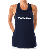 Ladies Under Armour Navy Pinhole Tank-UC San Diego Primary Mark