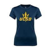 Ladies Syntrel Performance Navy Tee-UCSD w/Trident
