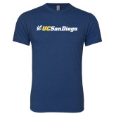 Next Level Vintage Navy Tri Blend Crew-UC San Diego Primary Mark