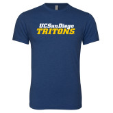 Next Level Vintage Navy Tri Blend Crew-UC San Diego Tritons Mark